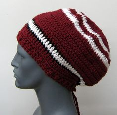 For women or men, sportive striped dread tam hat, click on the picture if you are interested in the online listing
