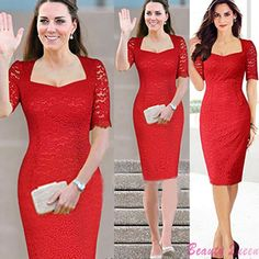 Cheap dresses with short sleeves, Buy Quality dress padding directly from China dress swim Suppliers: Summer 2014 Vintage Retro Knee-Length Ladies Bodycon Dress Casual Plus Size Pencil Lace Runway Bandage HL Dresses Red B