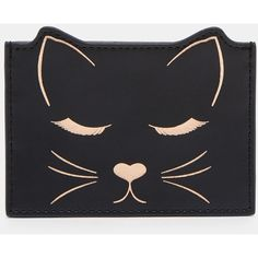 Cat motif leather card holder (51 AUD) ❤ liked on Polyvore featuring bags, wallets, black, card case wallet, real leather wallets, ted baker, card carrier wallet and ted baker bag