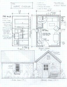 Teeny tiny cabin plans. Not too bad - 192 sqft. No loft shown. It suggests a sofa sleeper. It would make a great vacation home in a beautiful out of the way place.