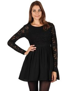 Every woman needs a sexy little black dress in her wardrobe, andJorge\'s Need My Love Skater Dressis ideal. This gorgeous dress showcases an elegant, vintage design with a dainty, lace-detailed bodice and sleeves. The cinched waist accentuates an hourglass figure and kicks out into a full, flouncy, mid-thigh skirt. Be playful and match this beautiful creation with a pair of red booties and silver stud earrings for a look that is cute and effortlessly stylish.