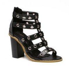 Gamiss - Gamiss Block Heel Eyelets Sandals - AdoreWe.com
