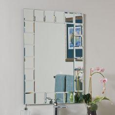 Decor Wonderland Montreal 236 In W X 315 H Rectangular Frameless Bathroom Mirror With Hardware And Beveled Edges Ss