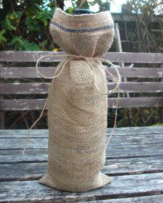 Burlap wine bag rustic  wine bottle gift wrap by HomeDecorLab, $6.00