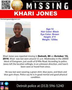 MISSING KHARI JONES Age 14 Was Last Seen
