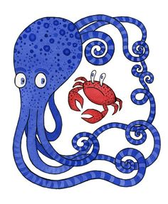 Blue+octopus+red+crab+art+print+I+thought+we+were+by+SepiaLepus,+$18.00