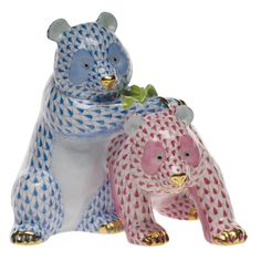 Herend Hand Painted Porcelain Figurine Two Pandas Blue Raspberry Fishnet Gold Accents.