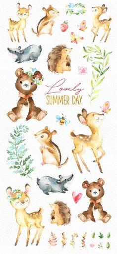 Hermoso día de verano. Animales del bosque clip arte acuarela | Etsy