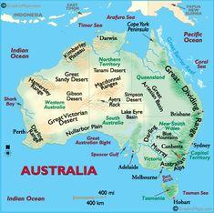 Landforms of Oceania, Deserts of Australia, Mountain Ranges of Oceania, Rivers of Oceania Australia Map, Melbourne Australia, Australia Tattoo, Facts About Australia, Westerns, Middle Earth Map, Social Studies Worksheets, Brisbane Queensland, Paris Map