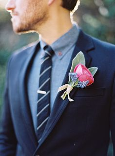 Chambray shirt classic stripe tie and navy suit with lapel detailing