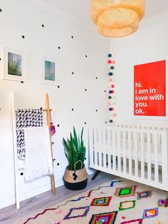 bright gender neutral nursery little boys room moroccan boho inspired bright neons azizal rug belly baskets