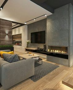 Contemporary Living Room Design Ideas To Get A Warm Room Modern Contemporary Living Room, Contemporary Interior Design, Living Room Modern, Modern House Design, Home Living Room, Home Interior Design, Interior Architecture, Living Room Designs, Contemporary Stairs