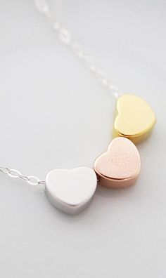 Triple Hearts Sterling Silver Necklace from EarringsNation Silver, Gold, Rose Gold