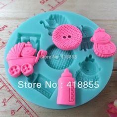 DIY Stroller/pram bottle button baby chocolate silicone mold fondant cake decoration mold NO.si299(China (Mainland))