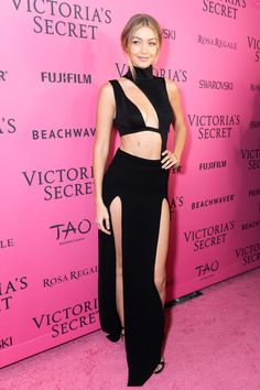 Gigi Hadid in a cutout black gown at the Victoria's Secret fashion show after party