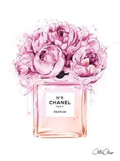 Chanel perfume illustration with peonies. Print out and plac .- Chanel perfume illustration with peonies. Print out and place in frame for decor… Chanel perfume illustration with peonies. Visit our shop if it does not have to be Chanel …. Fashion Illustration Chanel, Illustration Mode, Fashion Illustrations, Design Illustrations, Peony Illustration, Makeup Illustration, Illustration Artists, Digital Illustration, Art Floral