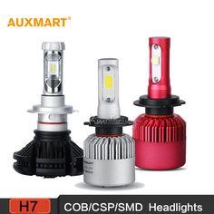 Auxmart H7 COB/CSP/SMD LED Car Headlight Bulbs 6500K 8000LM Driving Headlight All-In-One Single beam Fog Head lamp 12v 24v DRL