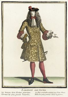Recueil des modes de la cour de France, 'Lieutenant aux Gardes'  Henri Bonnart (France, 1642-1711)  France, Paris, 1675-1685, bound 1703-1704  Prints  Hand-colored engraving on paper