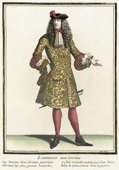 Recueil des modes de la cour de France, 'Lieutenant aux Gardes'  Henri Bonnart (France, 1642-1711)  France, Paris, 1675-1685, bound 1703-1704  Prints  Hand-colored engraving on paper