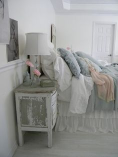 shabby chic bedroom. Love the distressed end table