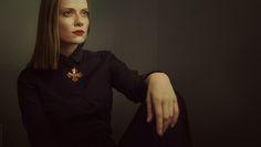 woman, portrait, dark, black, cross, vamp, red lips, rembrandt light