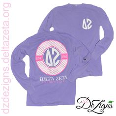 Delta Zeta monogram style comfort colors long sleeve tshirt! Now available at DZ DeZigns!