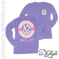 Delta Zeta monogram style comfort colors long sleeve tshirt! Now available at DZ DeZigns!