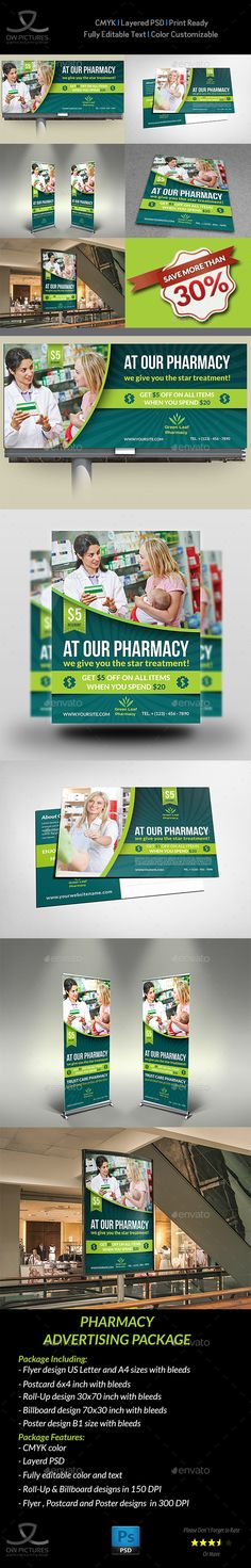 Pharmacy Advertising Bundle — Photoshop PSD #emergency #design • Available here → https://graphicriver.net/item/pharmacy-advertising-bundle/15787949?ref=pxcr