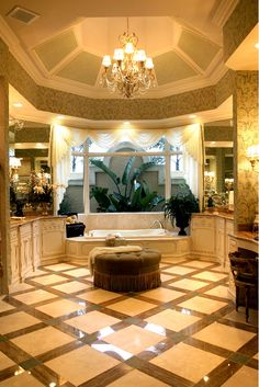 Beautiful bath, courtyard, flooring and glazed cabinets.. bathroom interior design ideas and decor