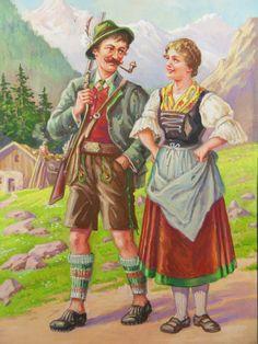 Bayerische Trachten - Gemälde um 1890
