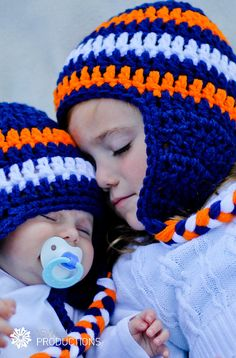 Matching Chicago Bears Crochet Hats w Ear Flaps - for my boys