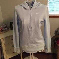 Women's Nike pullover hoodie Excellent condition women's thermal light blue Nike pullover hoodie. Size small. No trades. Nike Tops Sweatshirts & Hoodies
