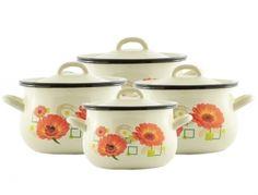 Komplet garnków emaliowanych Baryłka 4-el. kremowy Margaretka Sugar Bowl, Bowl Set