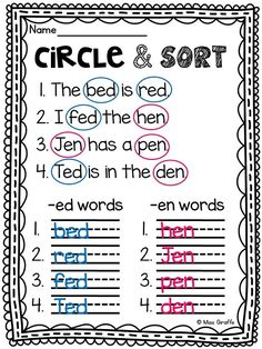 Short e worksheets and literacy stations!! Student read the sentence and sort the words by their short e word family (answer key)