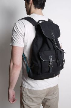 a331ebfde1 LEATHER TRIMMED 20OZ COTTON CANVAS RUCKSACK from Stighlorgan