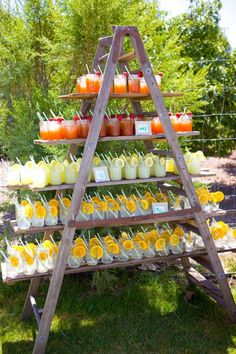 Upon arrival, guests were served lunch and cold drinks that were set up on a ladder in the same area which was going to be changed to cocktail hour after the ceremony.