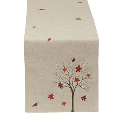 Wholesale Thanksgiving Gifts and Decor - Sweet Fall Tree Embroidered Table Runner by DII Thanksgiving Table Runner, Thanksgiving Gifts, Crewel Embroidery, Embroidery Patterns, Machine Embroidery, Burlap Table Runners, Quilted Table Runners, Fabric Painting, Fabric Art