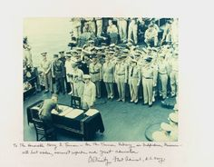 World War II Ends -  Today marks the anniversary of Japan signing the surrender agreement to end World War II. The ceremony took place on board the USS Missouri in Tokyo Bay. September 2, 1945.
