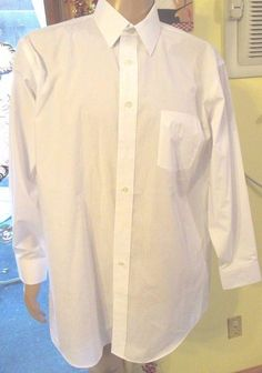 Mens Stafford White Dress Shirt Size 17.5 34/35 Long Sleeve Classic Fit  #Stafford