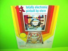 Stern PINBALL 1977 The 1st Electronic Flipper Pinball Machine Promo Sales Flyer…