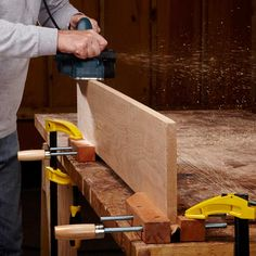Upright for Edge Work - A woodworker's vise is the best way to hold boards on edge. But a pair of hand screws works almost as well. Depending on how you set it up, you may want to insert strips of cardboard under the board to protect it from the hand screws' sharp threads.