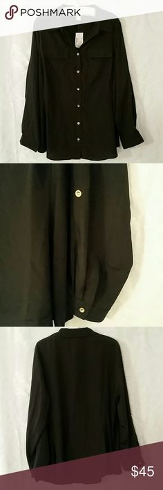 New Christopher Banks Black Button down shirt 1x Had gold accent buttons. 2 faux pockets on the chest.  Brand new unable to return. 100% polyester.  1x 16/18W  Christopher Banks Tops Button Down Shirts