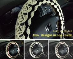 Crochet Steering Wheel Cover, Reversible - 2 designs in 1 cover - cream w/other 2 colors People Shopping, Happy Shopping, Car Life Hacks, Car Steering Wheel Cover, Crafts To Make And Sell, Diy Craft Projects, Hobbies And Crafts, 2 Colours, Hand Crochet