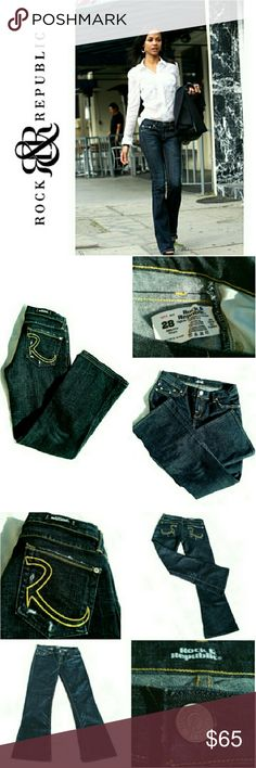 """ROCK & REPUBLIC DARK WASH SHORT BOOTCUT JEANS ROCK & REPUBLIC DARK WASH SHORT BOOTCUT JEANS Never Been Worn / Pic for Similarity  RN# 110113 CA 41387 Size 28 *   Dark Wash Low  Rise *   Whiskering  & Fading in Various Places incl. Pockets *   Signature R on Back Pockets *   Standard 5 Pocket Jean's Approx Meas; W. 15.5""""  Inseam 29.5"""" Leg Open; 9.5"""" Pls See All Pics. Ask ? If Needed Rock & Republic Jeans Boot Cut"""
