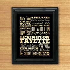 Lexington Fayette Kentucky Typography Art by LegacyHouseArt, $19.95