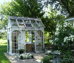 Such a cute Greenhouse/Potting Shed for back side of Wild Flower Garden Greenhouse Shed, Greenhouse Gardening, Large Greenhouse, Outdoor Rooms, Outdoor Gardens, Outdoor Living, She Sheds, Garden Cottage, Backyard Projects