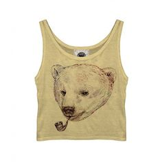 Smoking Bear Vest (2.640 RUB) ❤ liked on Polyvore featuring tops, shirts, tank tops, crop tops, crop tank, vest top, beige vest, beige tank top and bear shirt