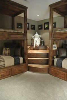 Awesome basement idea!! Bunk beds and a reading nook! How cool is that???? Pretty darn cool!