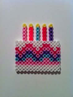 Birthday cake hama perler beads - great for birthday card! Perler Bead Designs, Hama Beads Design, Diy Perler Beads, Perler Bead Art, Pearler Beads, Melty Bead Patterns, Pearler Bead Patterns, Perler Patterns, Beading Patterns