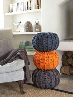 Knitted Kids Poufs - great for Hallowe'en